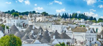 Stone coned rooves of trulli houses. In Alberobello, Puglia, Italy stock images