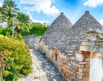 Stone coned rooves of trulli houses. In Alberobello, Puglia, Italy royalty free stock photo