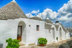 Stone coned rooves of trulli houses. In Alberobello, Puglia, Italy royalty free stock image