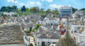 Stone coned rooves of trulli houses. In Alberobello, Puglia, Italy stock photography
