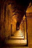 A stone corridor in Angkor Wat, Siem Reap, Cambodia Royalty Free Stock Photos