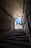 Stone corridor with stairway in Palazzo Pitti, Florence, Italy Royalty Free Stock Photo