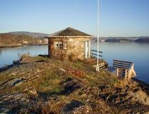 Stone cottage. A stone cottage by the sea. Autumn. Oslofjorden, Norway Royalty Free Stock Photos