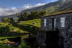 Stone cottage at the foot of the mountains. On the island of Pico Stock Photography