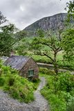 Stone Cottage in the Irish Mountains. A small stone cottage in the Donegal mountains next to a stream. This was taken in Glenveagh National Park Royalty Free Stock Photography