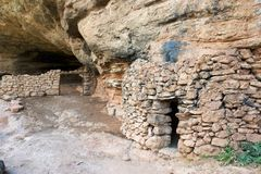 Stone cottage view. Stone cottage in Guara Mountains, Huesca Province, Aragon, Spain Royalty Free Stock Image