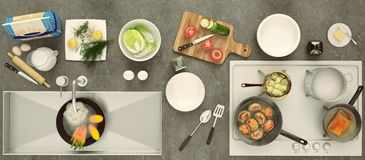 Stone countertop with dishes and products. Healthy eating concep. T with fresh vegetables. Panorama. Top view Royalty Free Stock Image