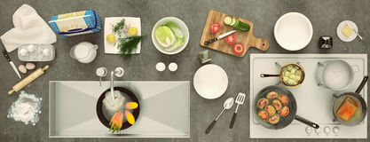 Stone countertop with dishes and products. Panorama. Stock Image
