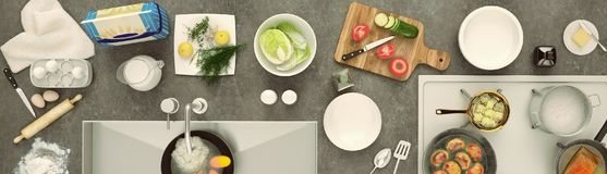Stone countertop with dishes and products. Panorama. Stock Photography