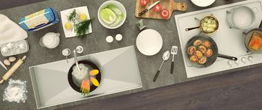 Stone countertop with dishes and products. Panorama. Top view. Stock Photo