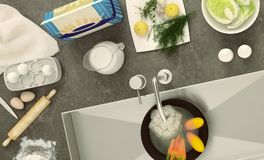 Stone countertop with dishes and products. Panorama. Top view. Royalty Free Stock Photography