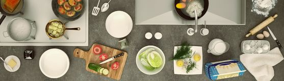 Stone Countertop With Dishes And Products. Panorama. Royalty Free Stock Photography