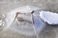Stone covered in ice Stock Images