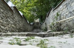 Stone covered street in Lahic. Vintage sceneric view. royalty free stock photos