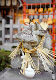 Stone cow statue in Japanese temple Royalty Free Stock Images