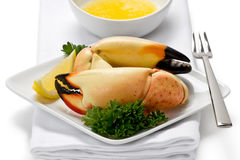 Stone Crab Claws. Two florida stone crab claws on appetizer plate with slice of lemon, and a side of melted butter stock photos
