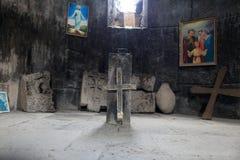 Stone cross. The stone cross in armenian apostolic church, Armenia Royalty Free Stock Photo