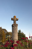 Stone cross. Old wayside cross made of stone with red roses around in Bordeaux, France Royalty Free Stock Photography