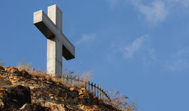 Stone cross. On the Mountain St. Gellert Royalty Free Stock Image