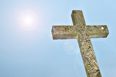Stone cross. A photography of an old stone cross Stock Photography