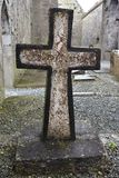 Stone cross in abbey ruins. Stone tombstone with cross in ruins of Clare Abbey in Ireland Stock Photo