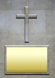 Stone Cross and blank plaque for inscription Royalty Free Stock Image