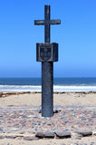 Stone cross at Cape Cross Bay, Skeleton Coast Namibia Royalty Free Stock Image