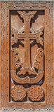 Stone cross carving. cross-stone Royalty Free Stock Images