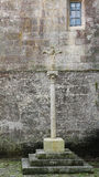 Stone Cross at the Cathedral of Tui, Galicia, Spain Stock Photo