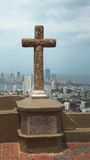 Stone cross in the Convent of La Popa with the city of Cartagena in the background Royalty Free Stock Photo