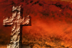 Stone cross firestorm Stock Image