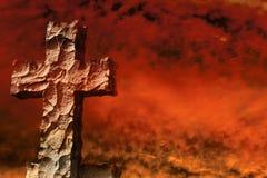 Stone cross firestorm Stock Image