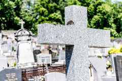 Stone cross in graveyard. Royalty Free Stock Photography