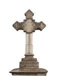 Stone cross. Isolated on white background Stock Photos
