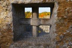 Stone Cross. Memorial Stone Cross in the Czech Karst Royalty Free Stock Images