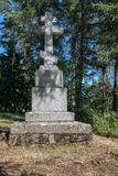 Stone cross in the memory of Abbot of Damascus stock photo