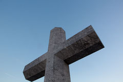 Stone cross in memory of deceased sailors. Lekeitio, Basque Stock Photography