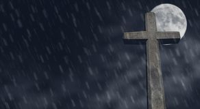 Stone cross at night. Stone cross with moon at night Royalty Free Stock Images