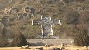 Stone cross on the mountain in the Rupite, Bulgaria. Temple of Saint Petka built Vanga, Bulgarias tourist attractions, a place of pilgrimage for fans in Rupite stock video
