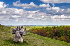 Stone cross. Near the monastery Pidkamin Lviv oblast Stock Photo
