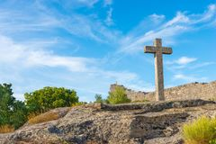 Stone cross. Next to the castle of Sortelha, Portugal Royalty Free Stock Photos