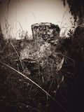 Stone cross on old cemetery Royalty Free Stock Images