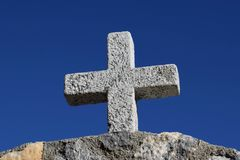 Stone Cross On The Roof Royalty Free Stock Photo