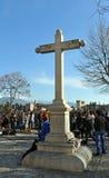 Stone cross in the square of San Nicolas, Granada, Spain royalty free stock photos