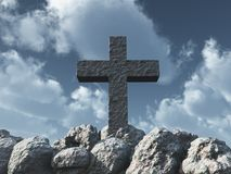 Stone cross under cloudy sky Royalty Free Stock Images