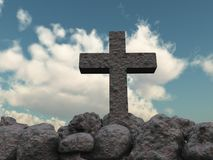 Stone cross under cloudy sky Stock Images