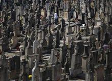 Stone crosses on cemetery Stock Photos