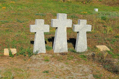 Stone crosses in the German soldiers' cemetery Royalty Free Stock Photos