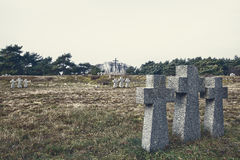 Stone crosses in the old cemetery Stock Images