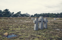 Stone crosses in the old cemetery Royalty Free Stock Photos